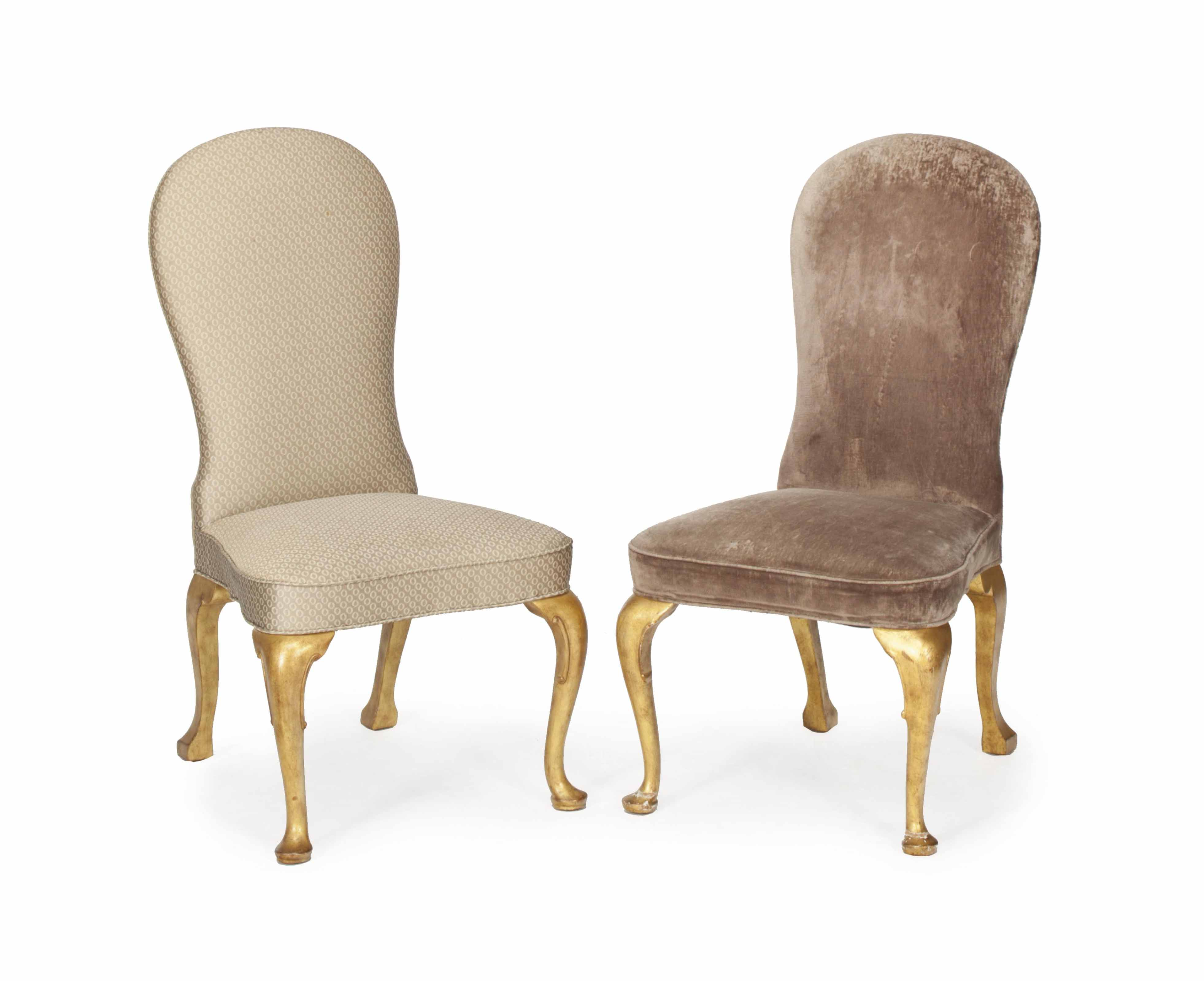A SET OF TWELVE QUEEN ANNE STYLE PARCEL GILT AND UPHOLSTERED DINING CHAIRS,