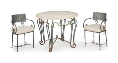A SET OF FOUR STEEL DINING CHA