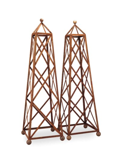A PAIR OF WEATHERED STEEL OBEL