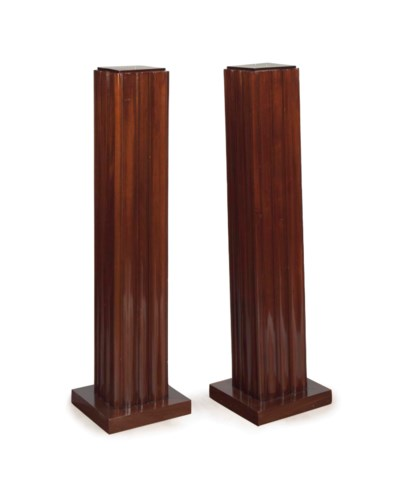 A PAIR OF FRENCH WALNUT FLUTED