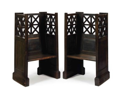 A PAIR OF STAINED-OAK AND LATT