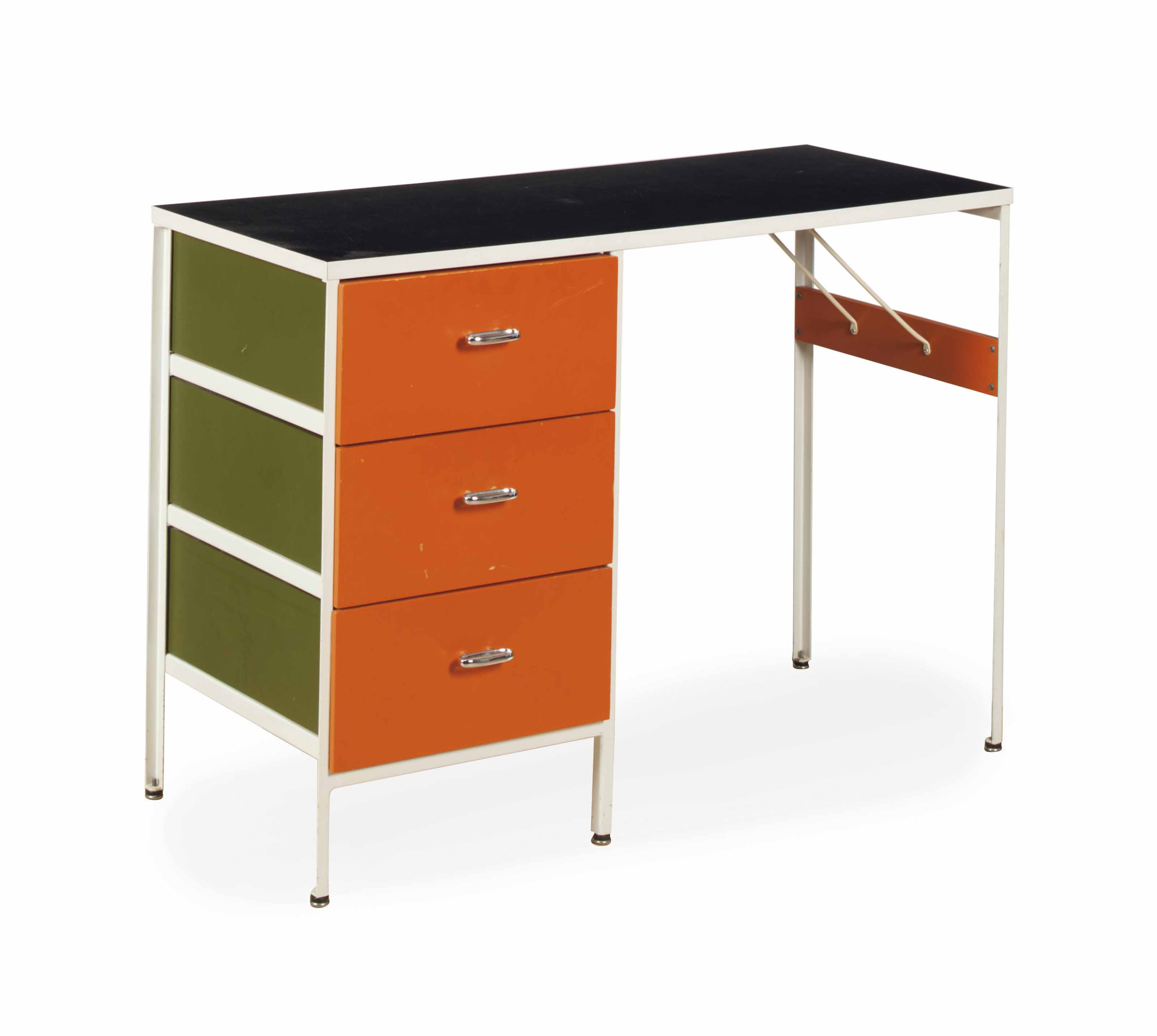 A WHITE ENAMELED METAL, LACQUERED WOOD AND BLACK LAMINATED PEDESTAL DESK,