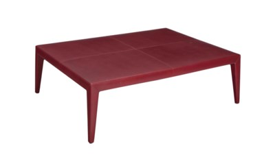 A LARGE TEXTURED RED LEATHER-C