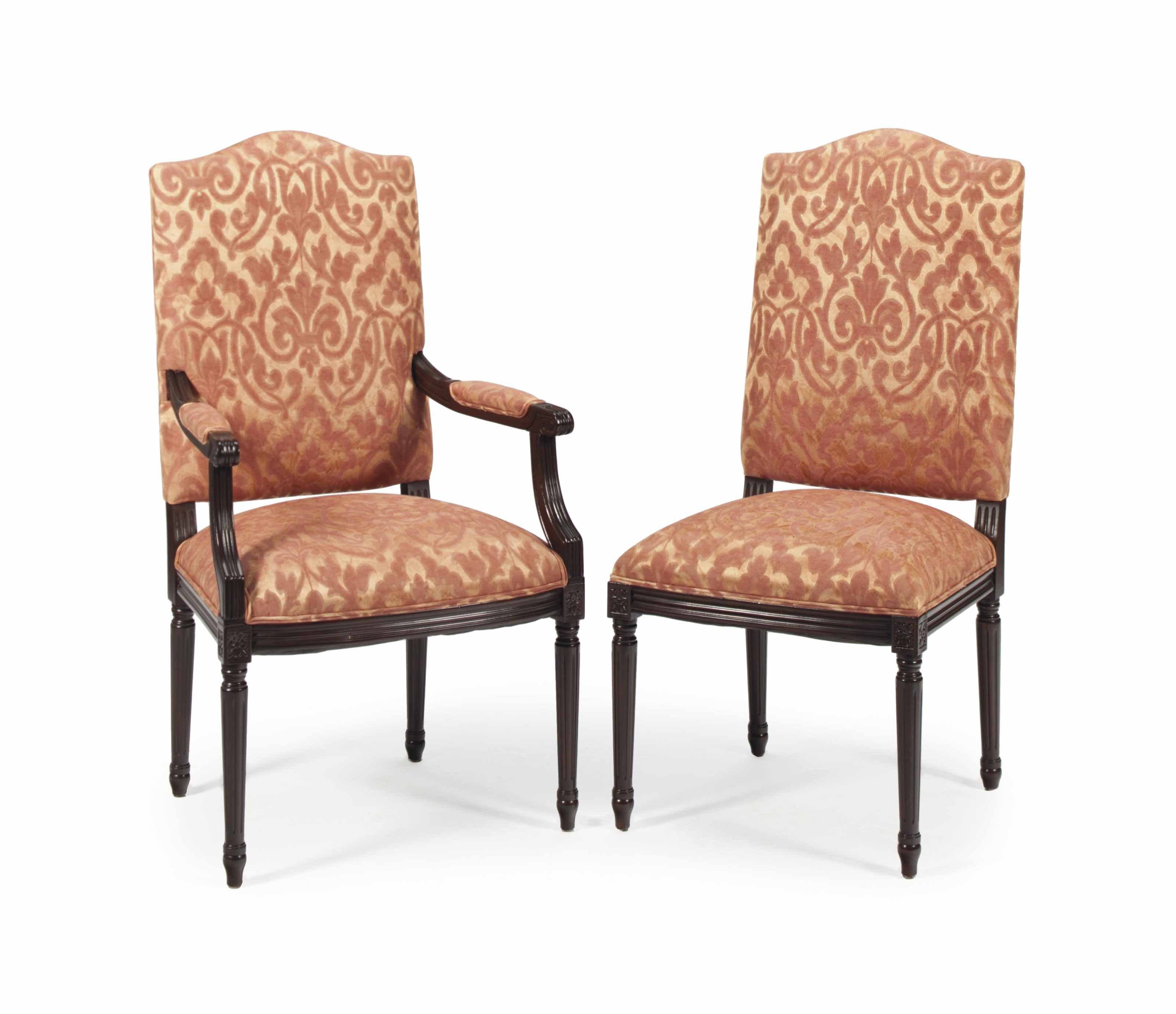 A SET OF FOURTEEN STAINED WOOD AND UPHOLSTERED DINING CHAIRS,