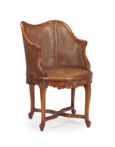 A FRENCH BEECHWOOD AND CANE RE