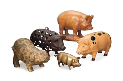 A COLLECTION OF FIVE PIGS,
