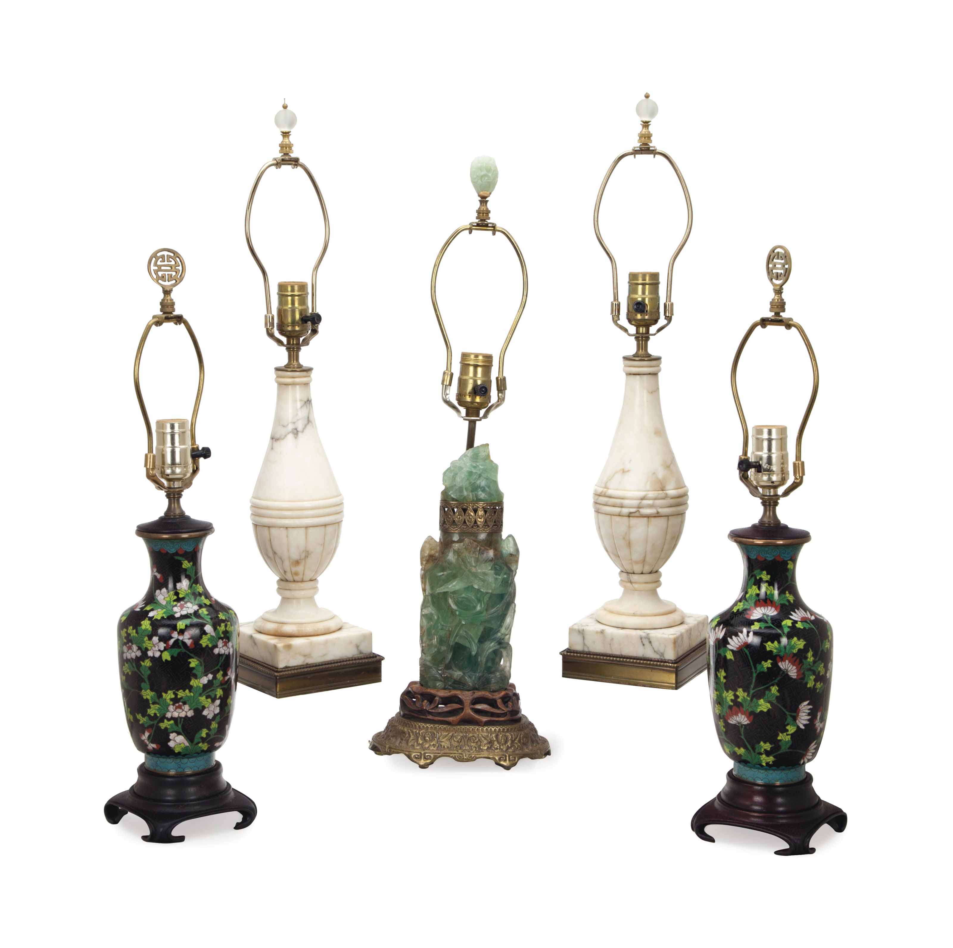 A PAIR OF WHITE MARBLE LAMPS, A PAIR OF CHINESE CLOISONNE-ENAMEL BALUSTER-FORM LAMPS AND A CHINESE CARVED-HARDSTONE COVERED VASE MOUNTED AS A LAMP,