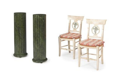 A SET OF SIX CREAM-PAINTED AND