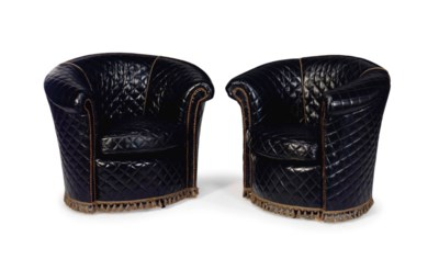 A PAIR OF QUILTED BLACK LEATHE