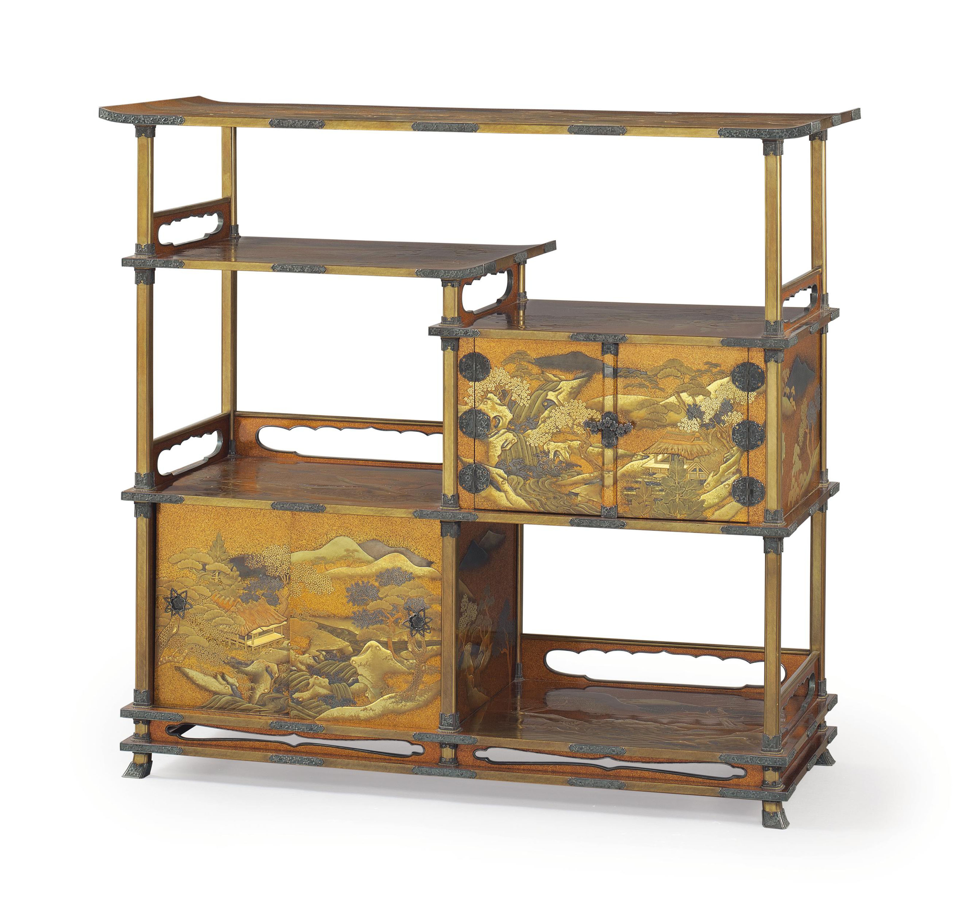 A gold lacquer display cabinet