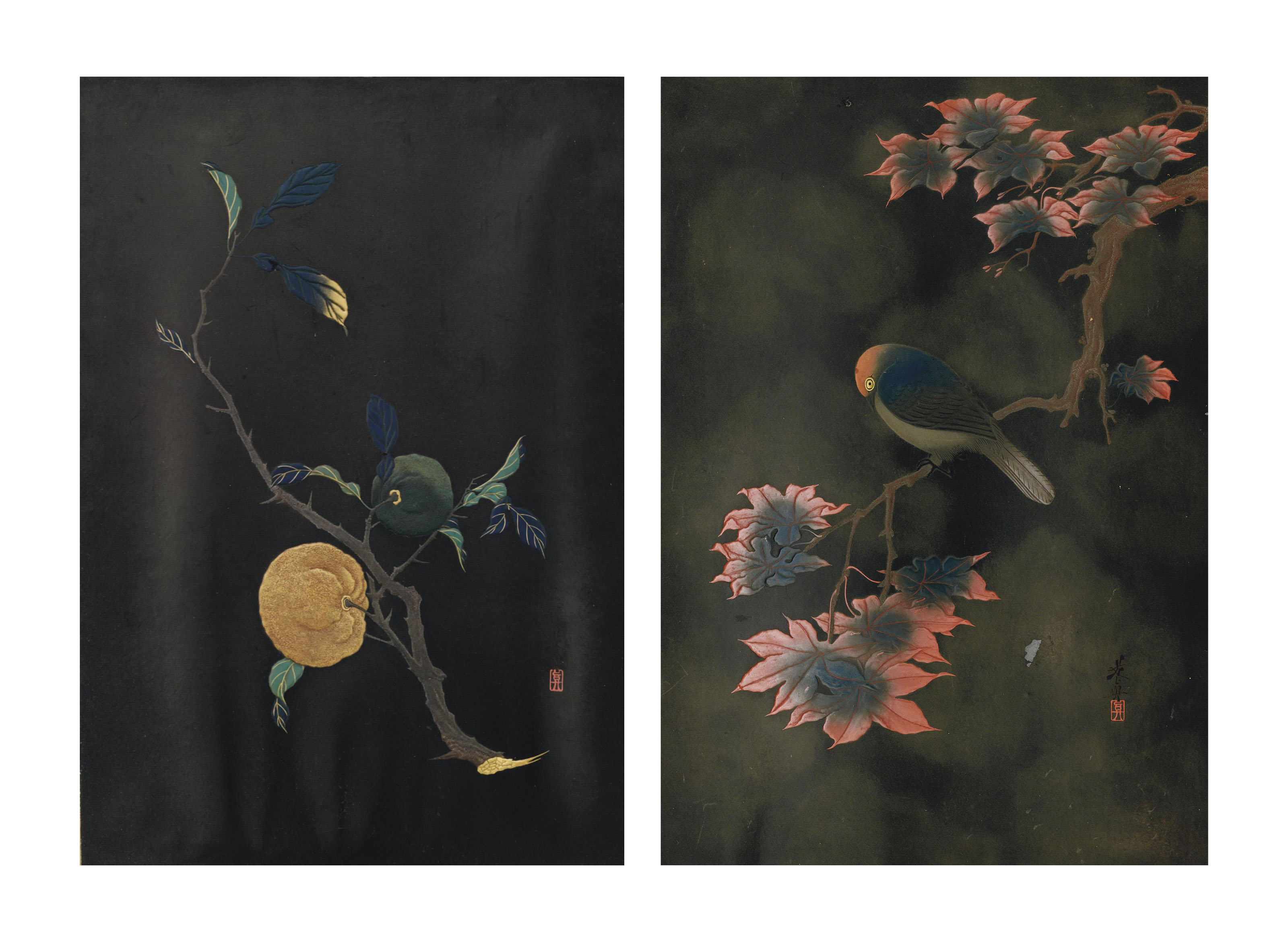 A pair of lacquer panels
