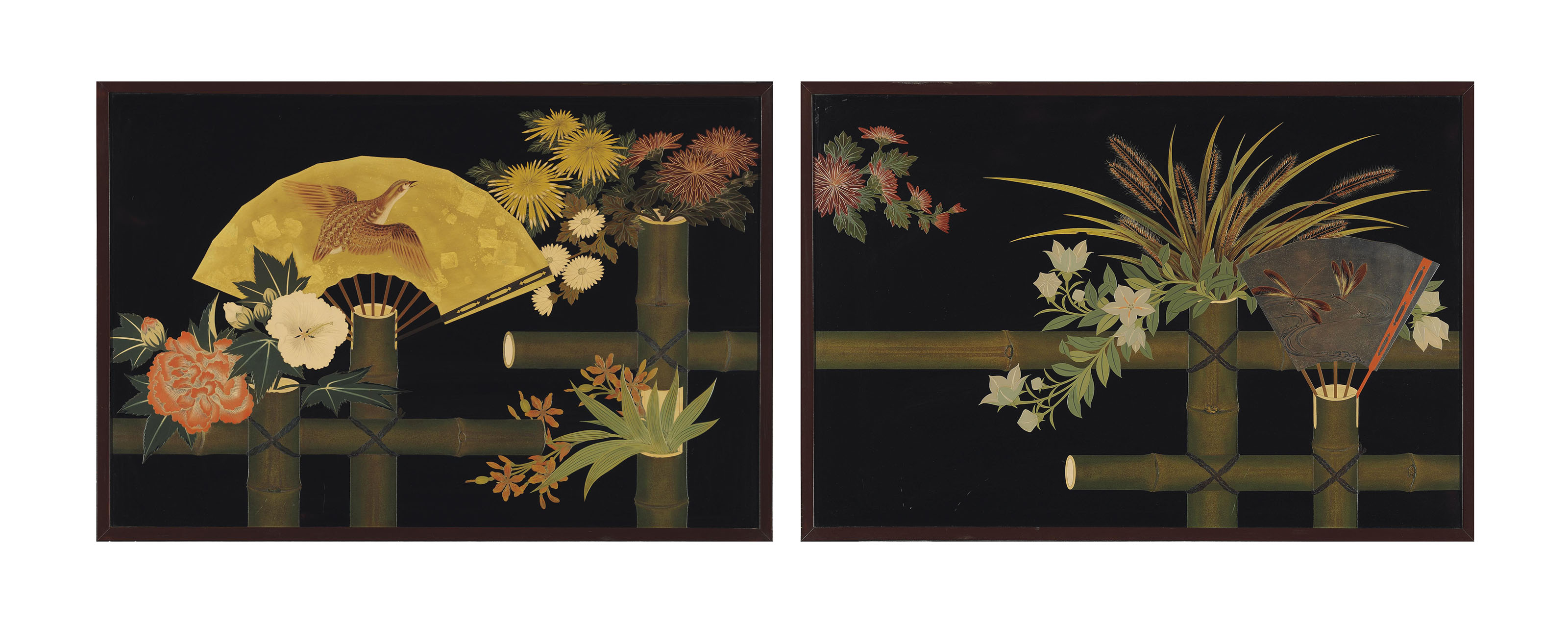 A small two-panel lacquer scre