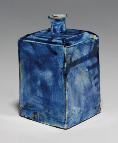 A Blue-glazed Square Porcelain