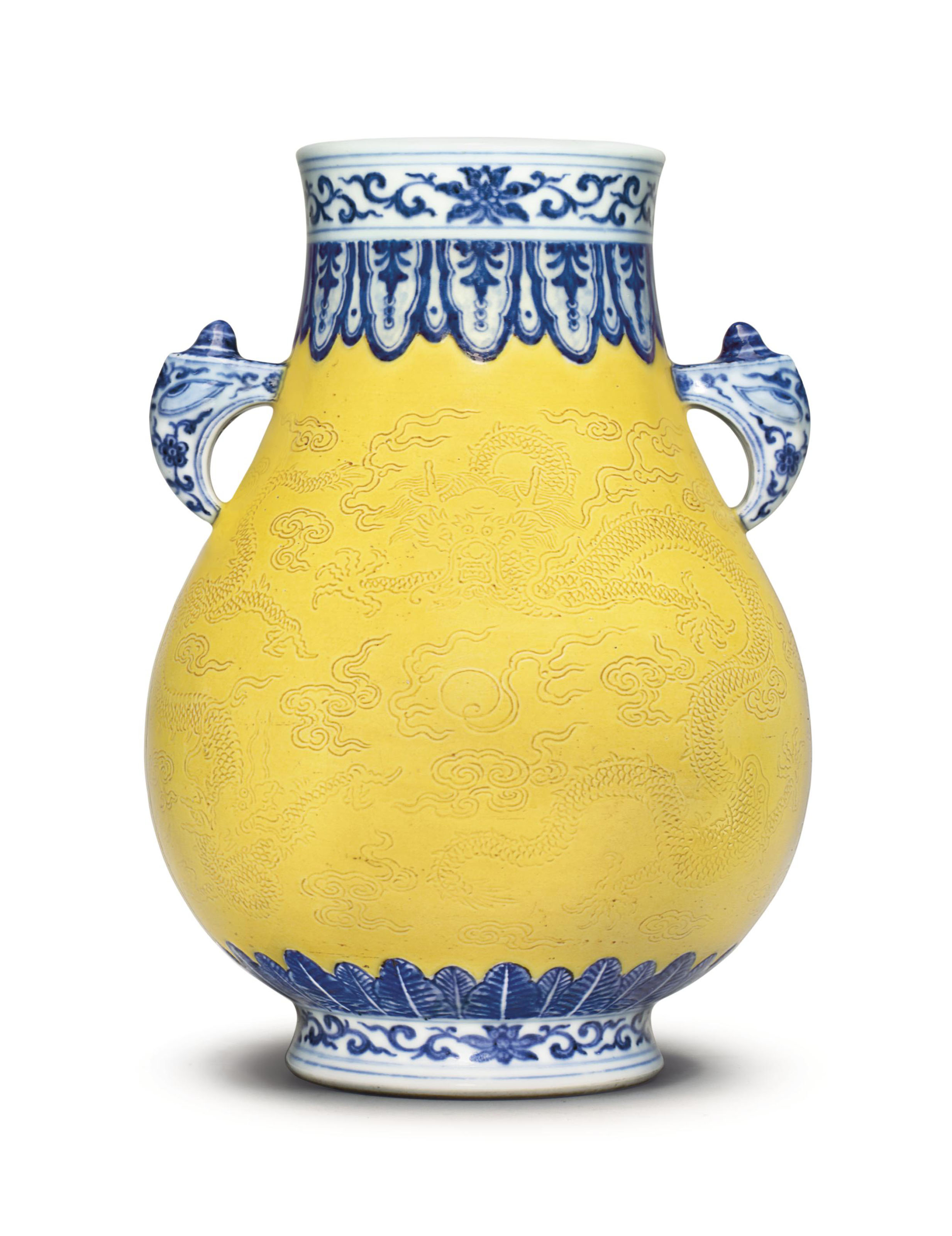 Blue And Yellow Bathroom Decor: A FINE AND RARE UNDERGLAZE-BLUE-DECORATED, YELLOW-GROUND