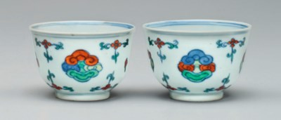 A PAIR OF MING-STYLE DOUCAI CU