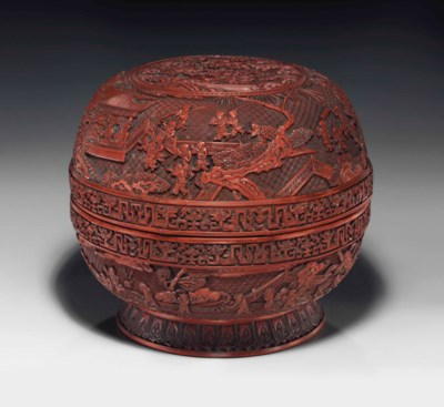 A LARGE CARVED RED LACQUER GLO
