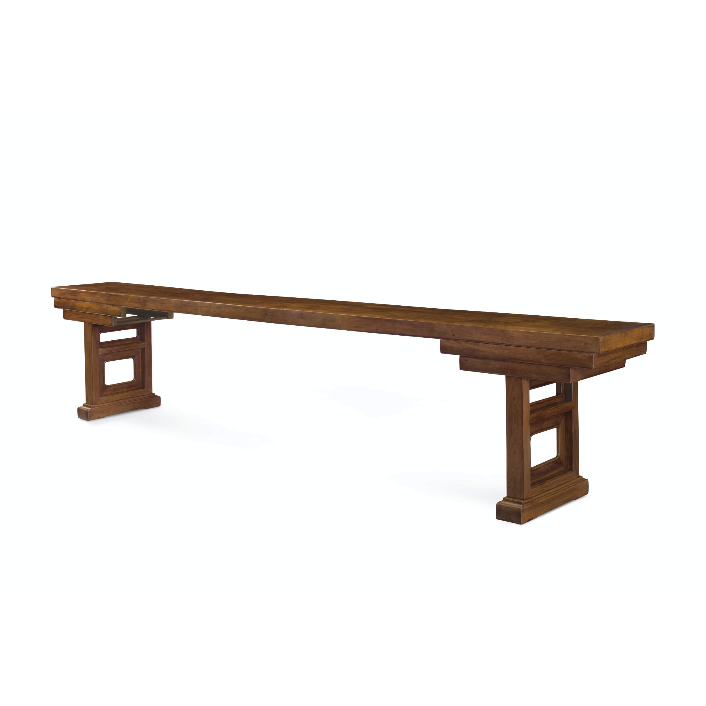 A MAGNIFICENT AND VERY RARE MASSIVE HUANGHUALI PLANK-TOP PEDESTAL TABLE, JIAJI'AN