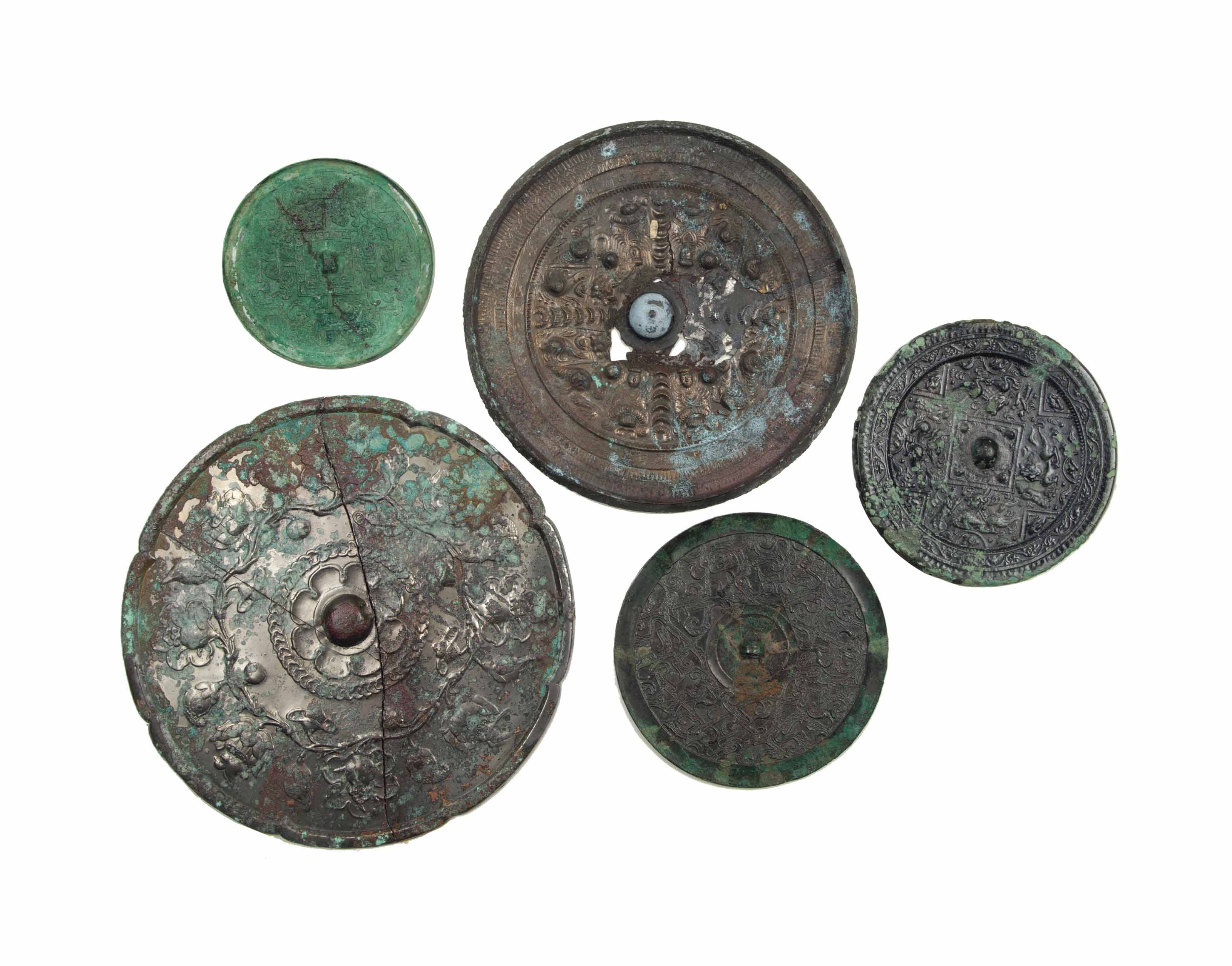 FIVE LARGE CHINESE BRONZE CIRC