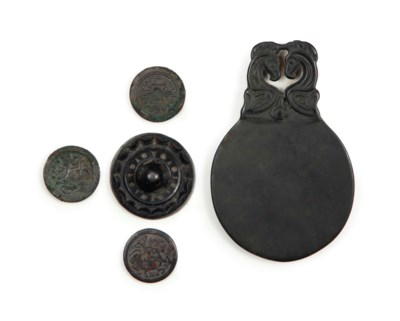 FOUR MINIATURE CHINESE BRONZE