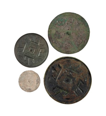 FOUR SMALL CHINESE BRONZE MIRR