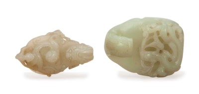 TWO CHINESE WHITE JADE PART BE