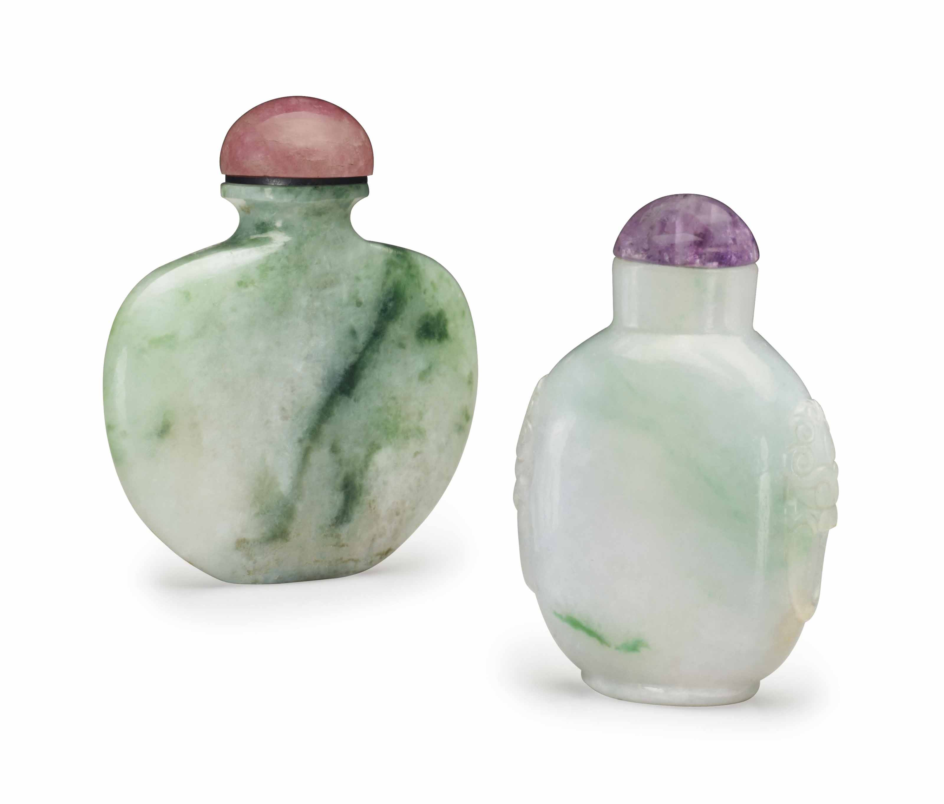 TWO CHINESE MOTTLED GREEN JADE