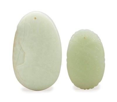 TWO CHINESE WHITISH JADE PENDA