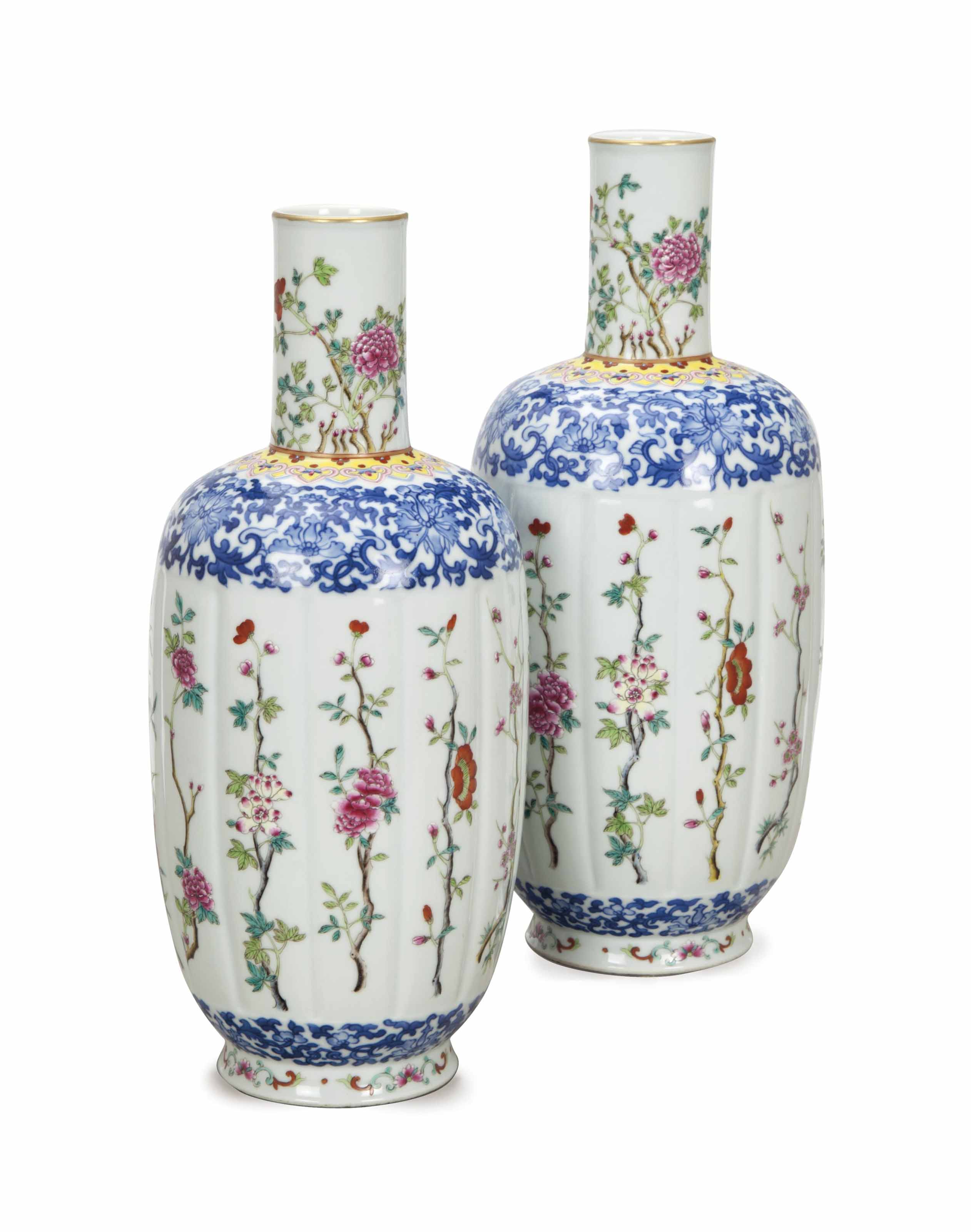A PAIR OF CHINESE LOBED BOTTLE
