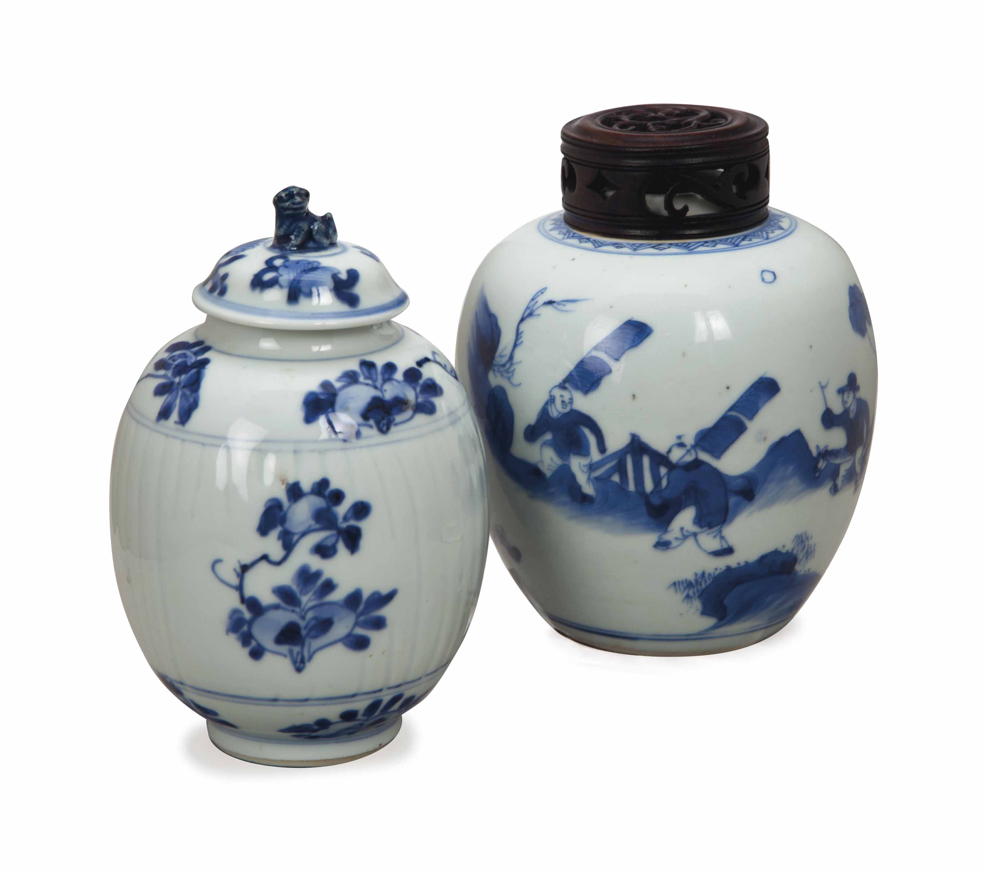 TWO CHINESE BLUE AND WHITE JAR