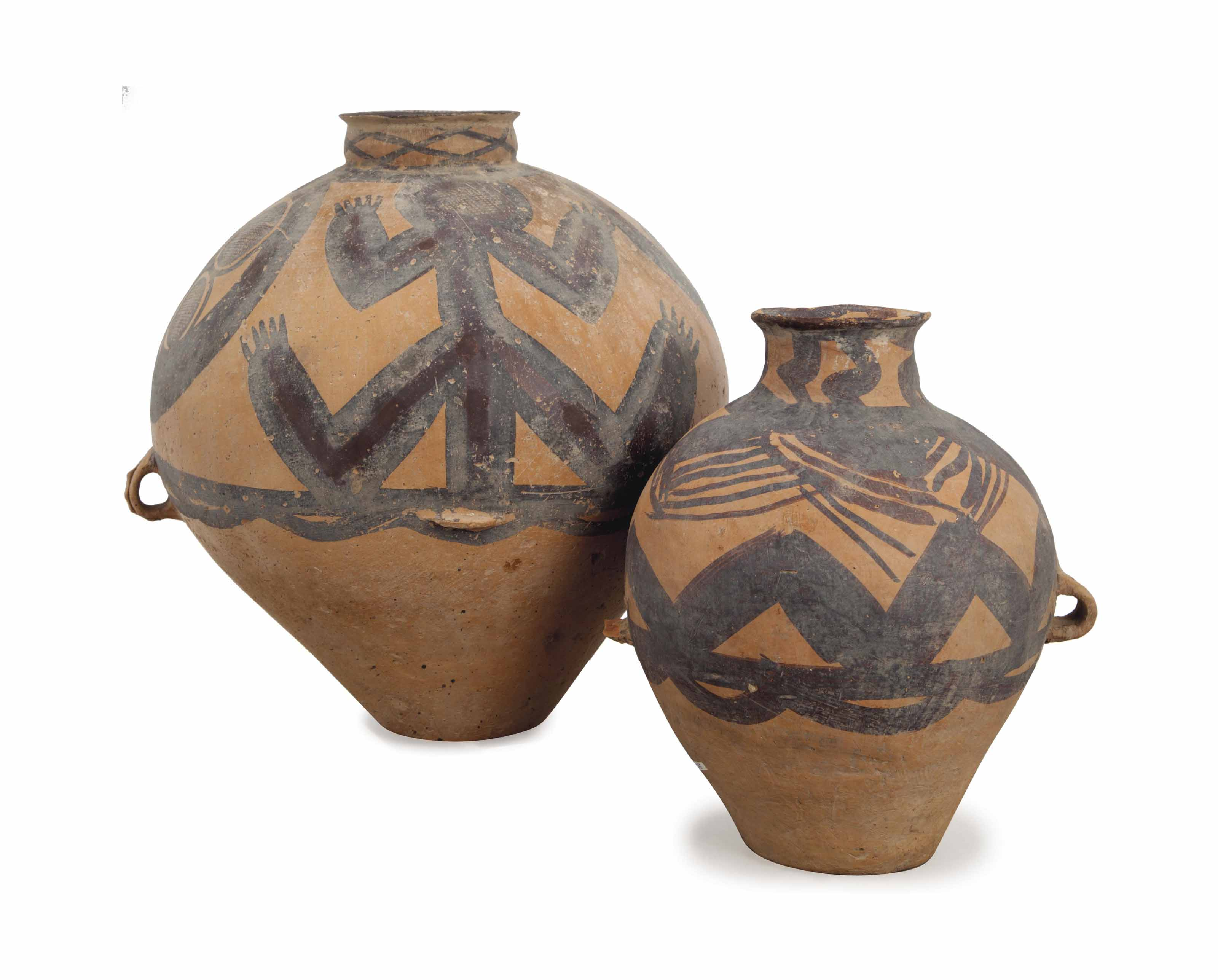 TWO NEOLITHIC-STYLE PAINTED PO