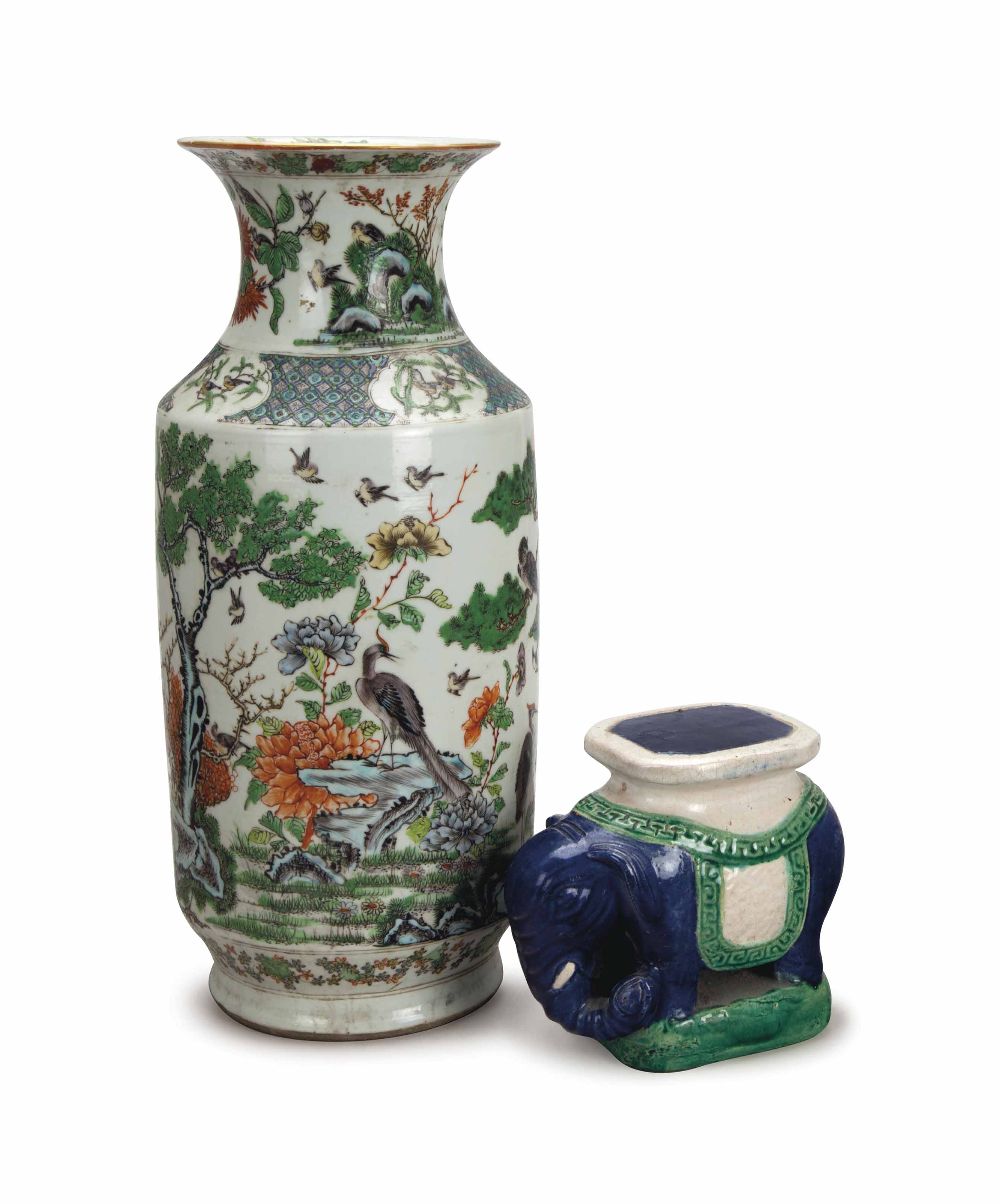 A CHINESE BALUSTER VASE, AND A