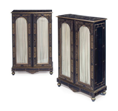 A PAIR OF FRENCH EBONY AND BOU