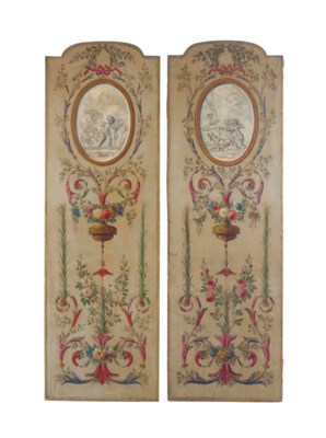 A PAIR OF FRENCH PAINTED CANVA