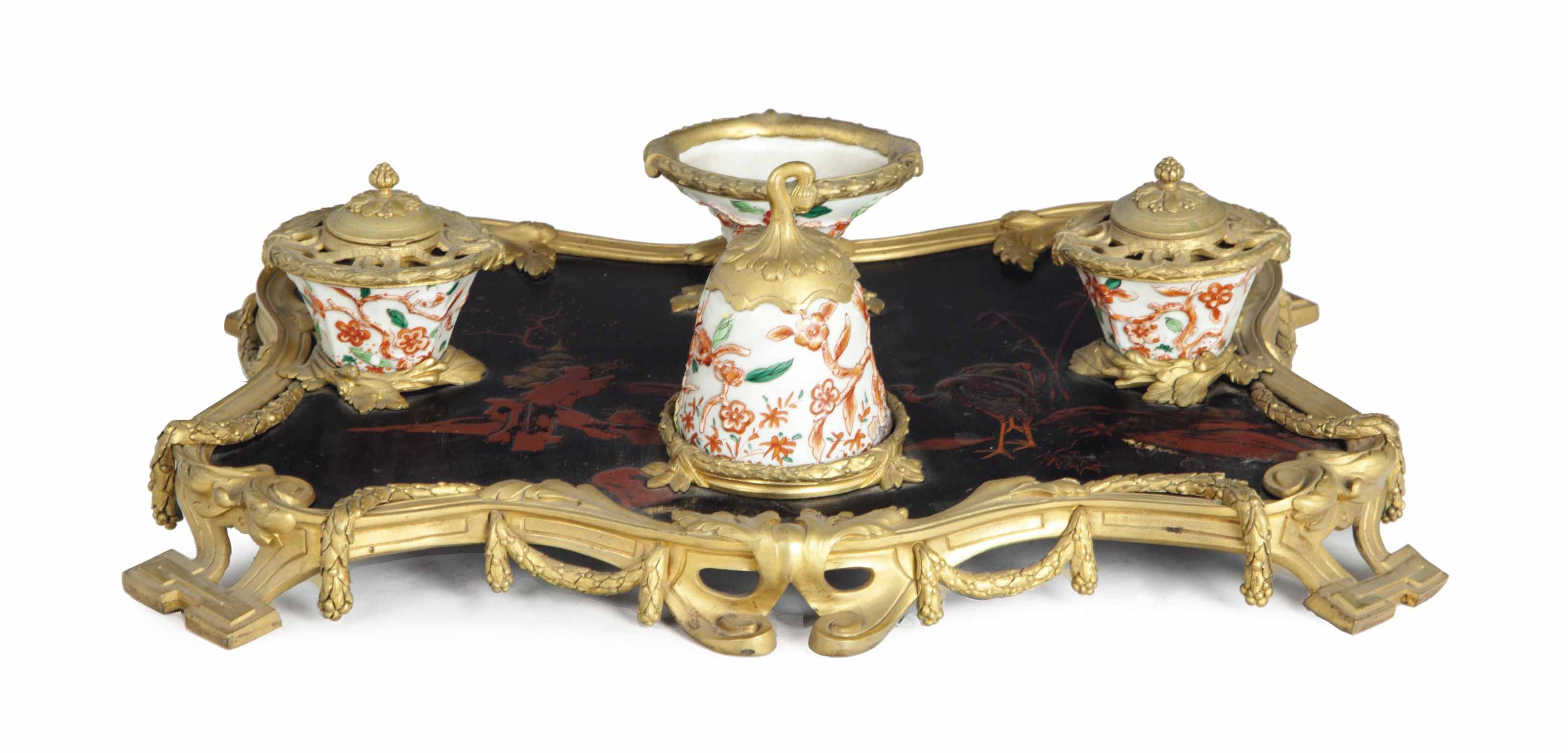 A FRENCH ORMOLU, CHINESE LAQUE