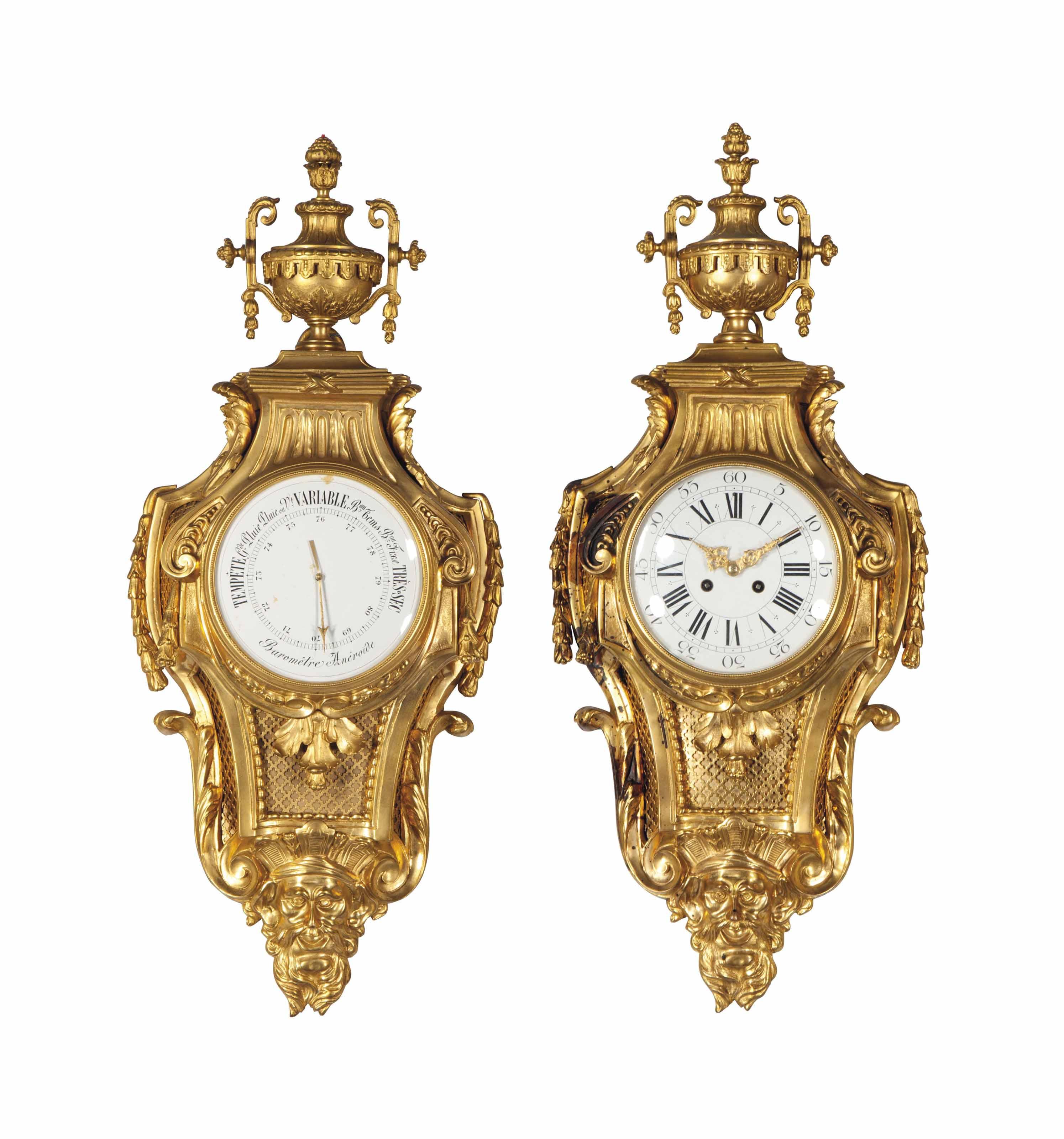 A FRENCH ORMOLU CLOCK AND BARO