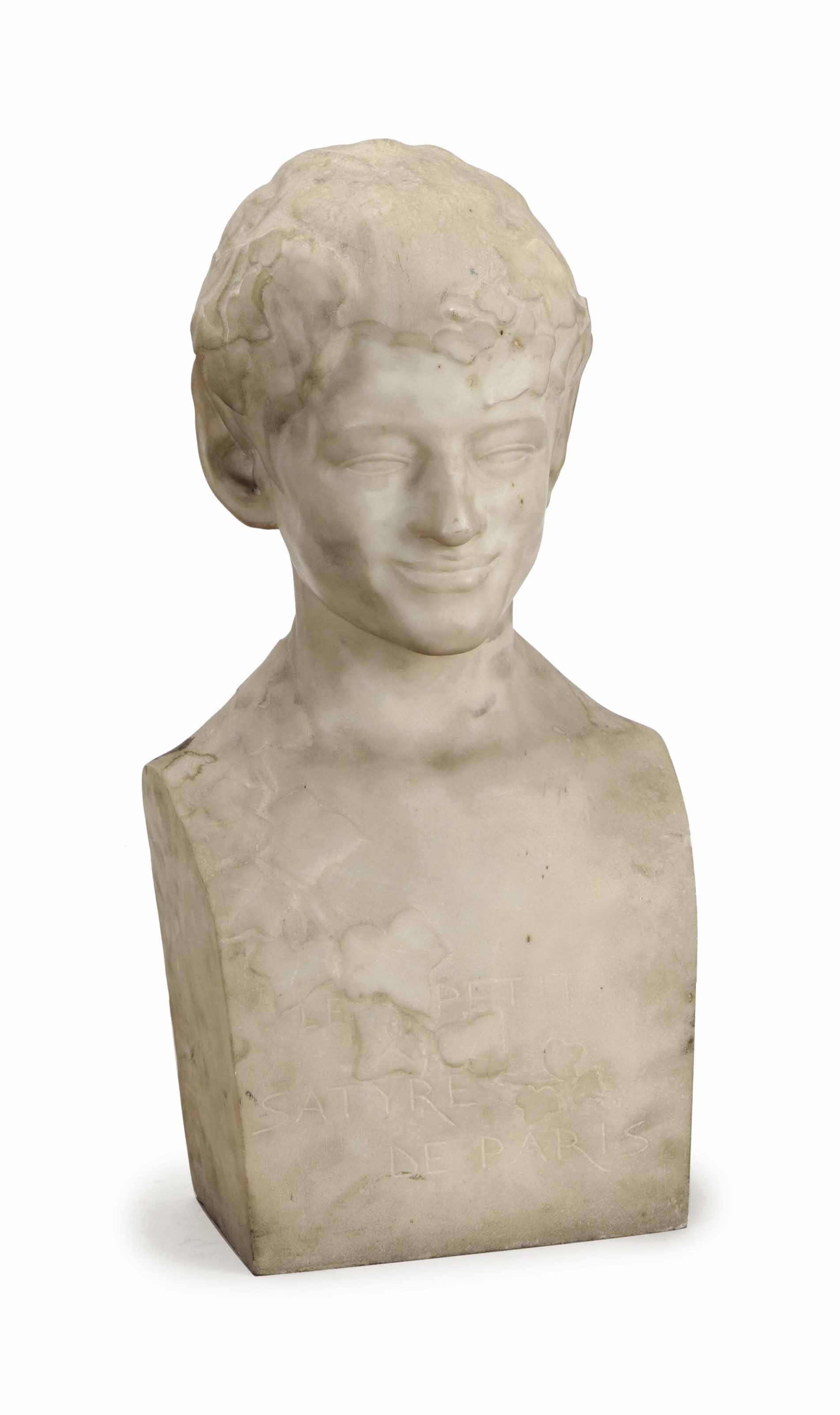 A FRENCH CARVED MARBLE BUST OF