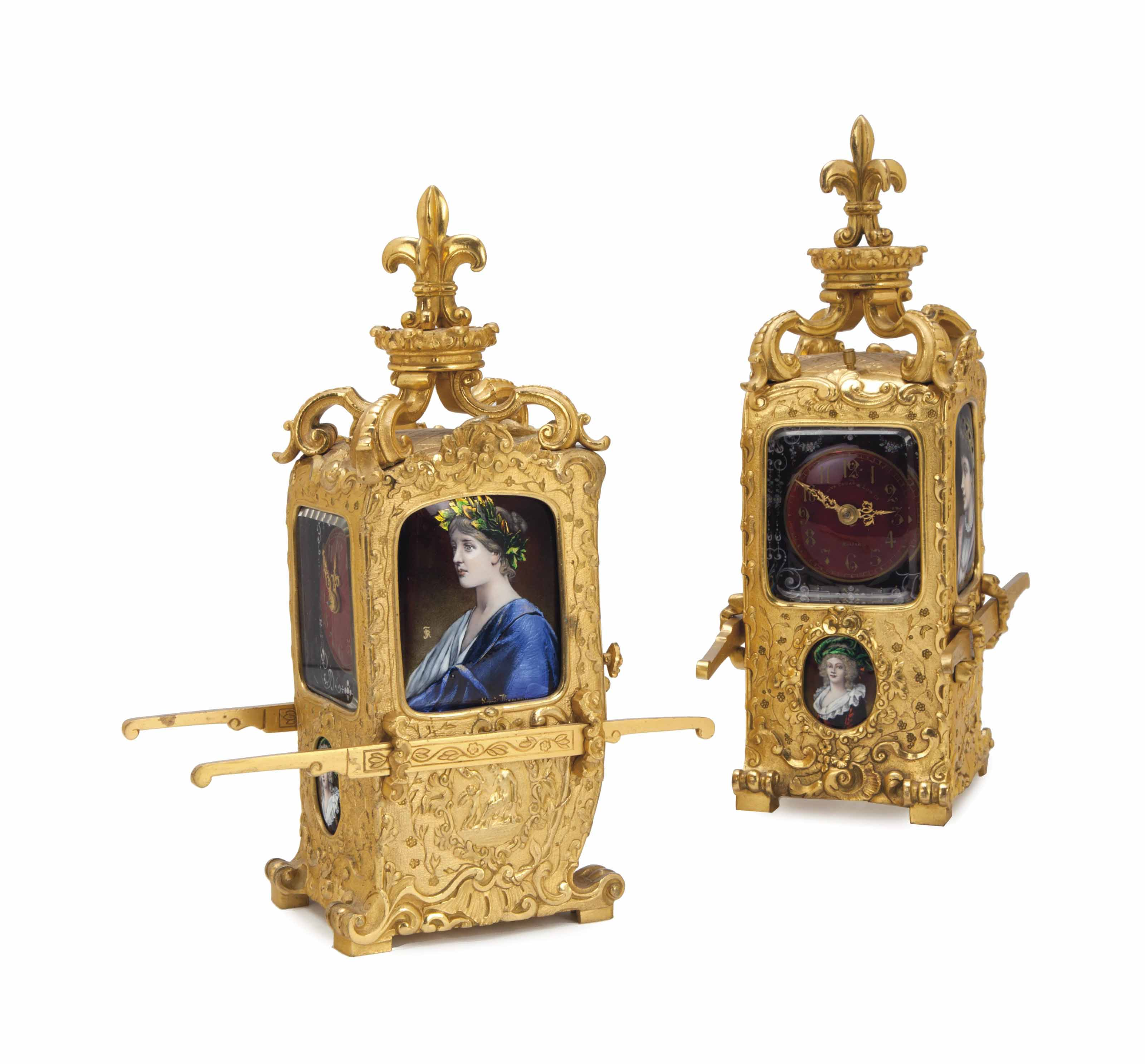 A PAIR OF FRENCH GILT-BRASS AN