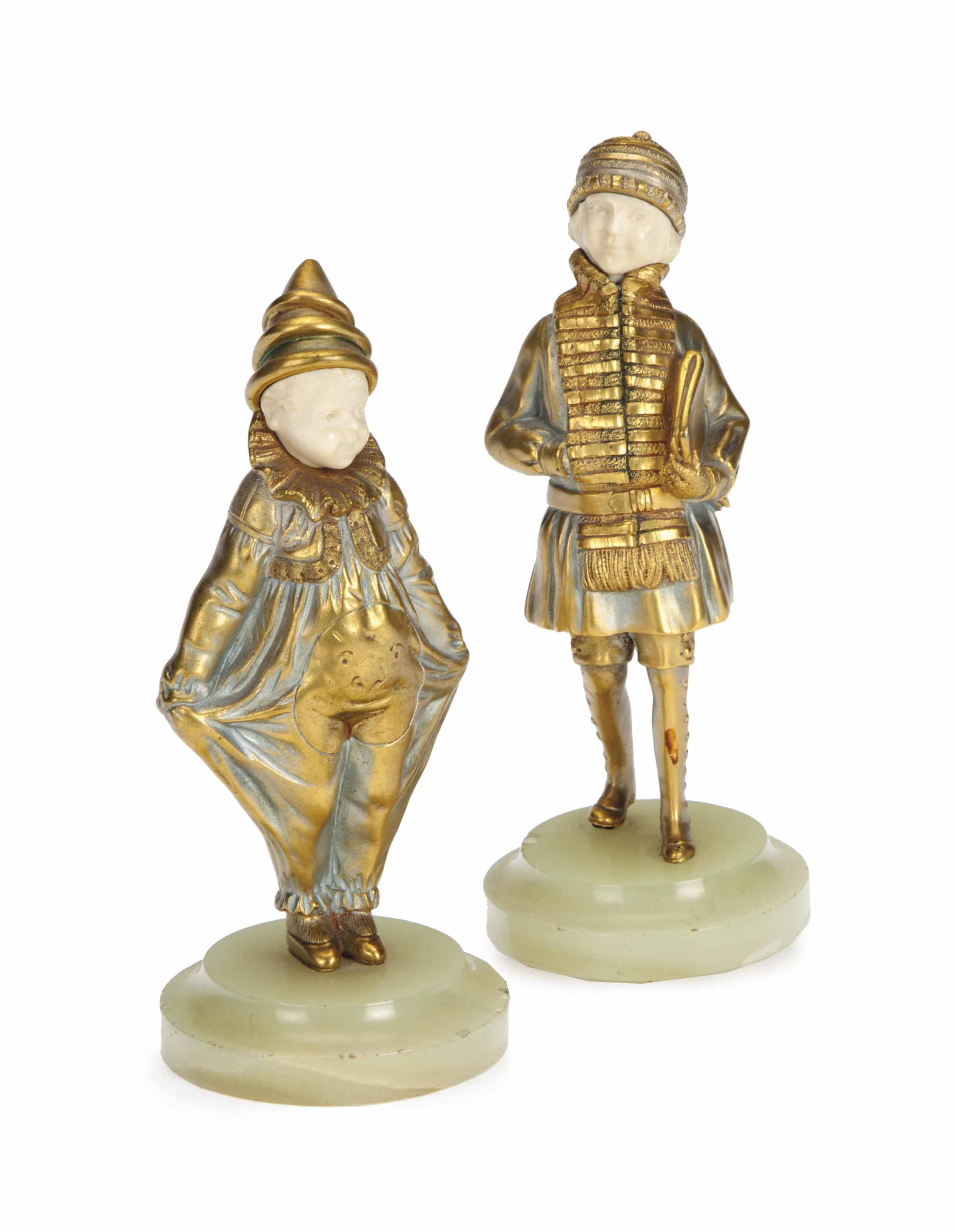 TWO FRENCH PATINATED AND GILT-