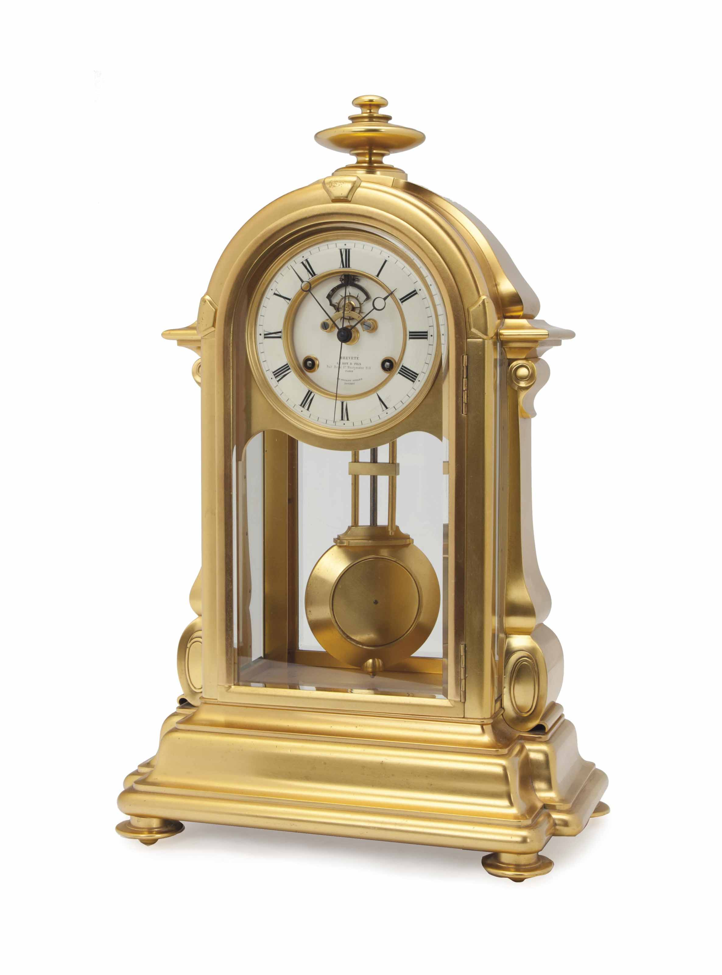 A GILT-BRONZE MANTLE CLOCK,