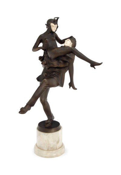 'DANCING PIERROTS' A PATINATED