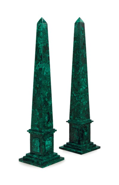 A PAIR OF MALACHITE OBELISKS,
