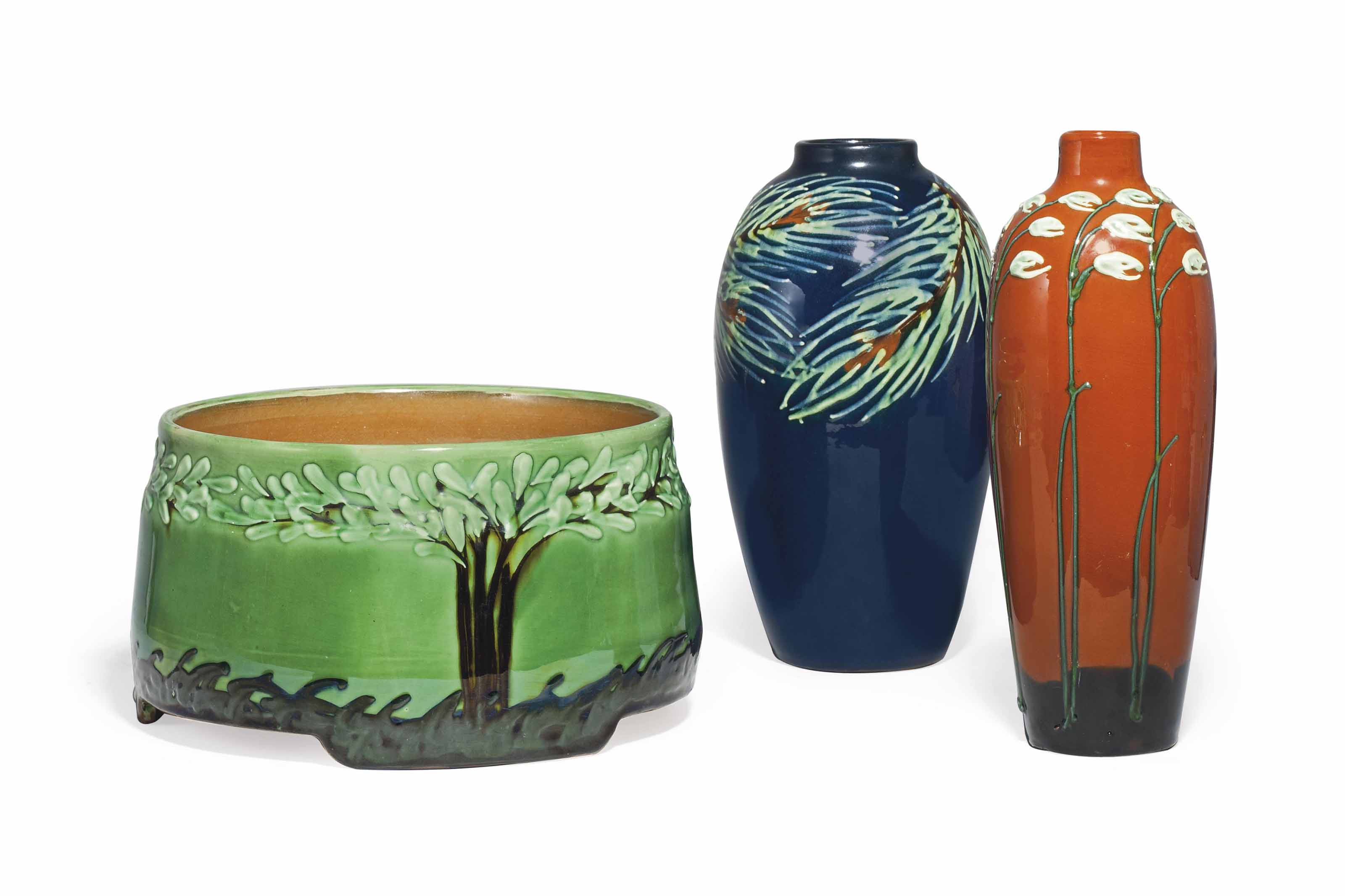 TWO GLAZED EARTHENWARE VASES A