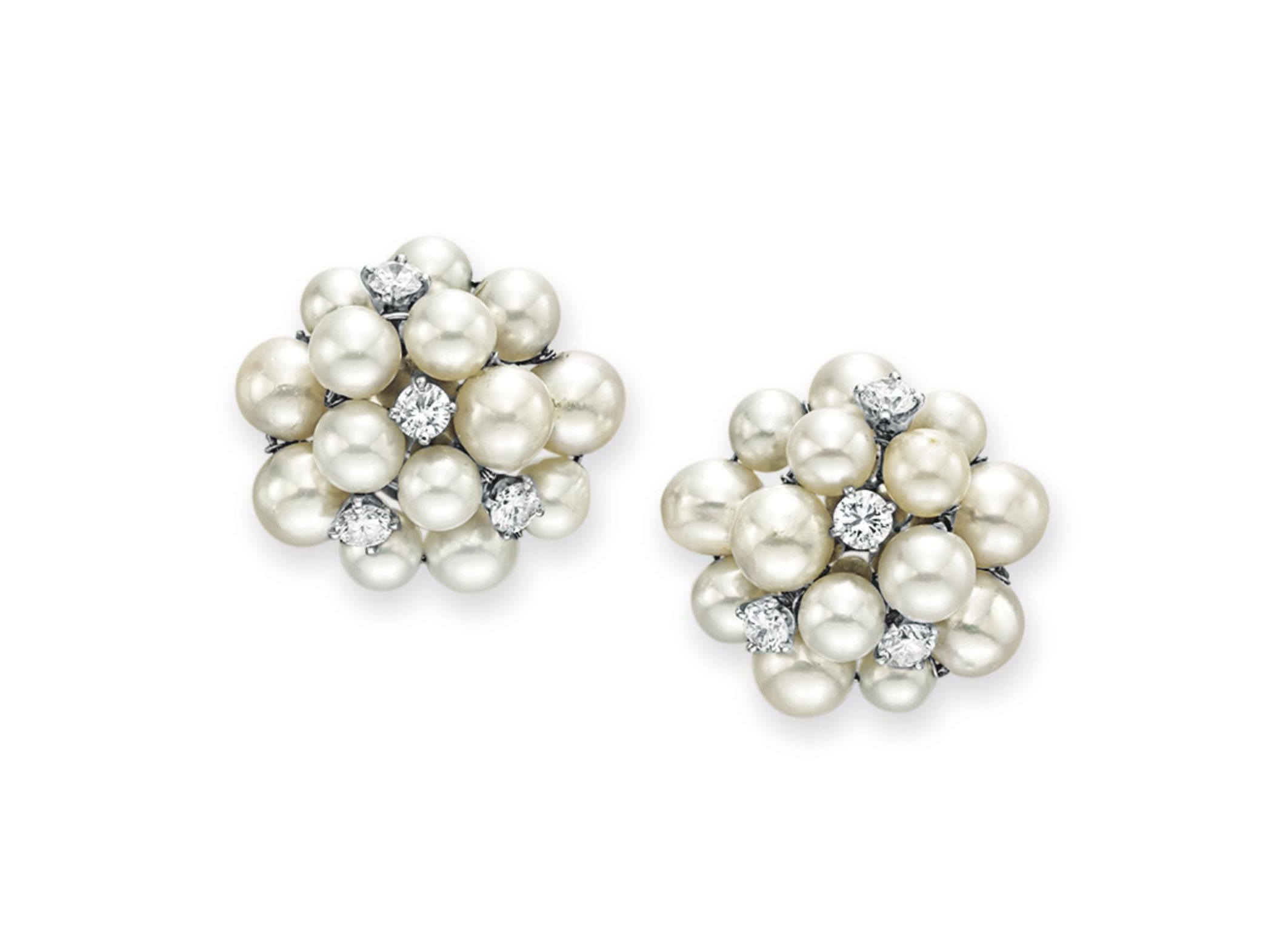 A PAIR OF DIAMOND AND CULTURED PEARL EAR CLIPS, BY SEAMAN SCHEPPS