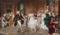 A BERLIN (K.P.M.) PORCELAIN RECTANGULAR PLAQUE, THE DANCING LESSON OF OUR GRANDMOTHER