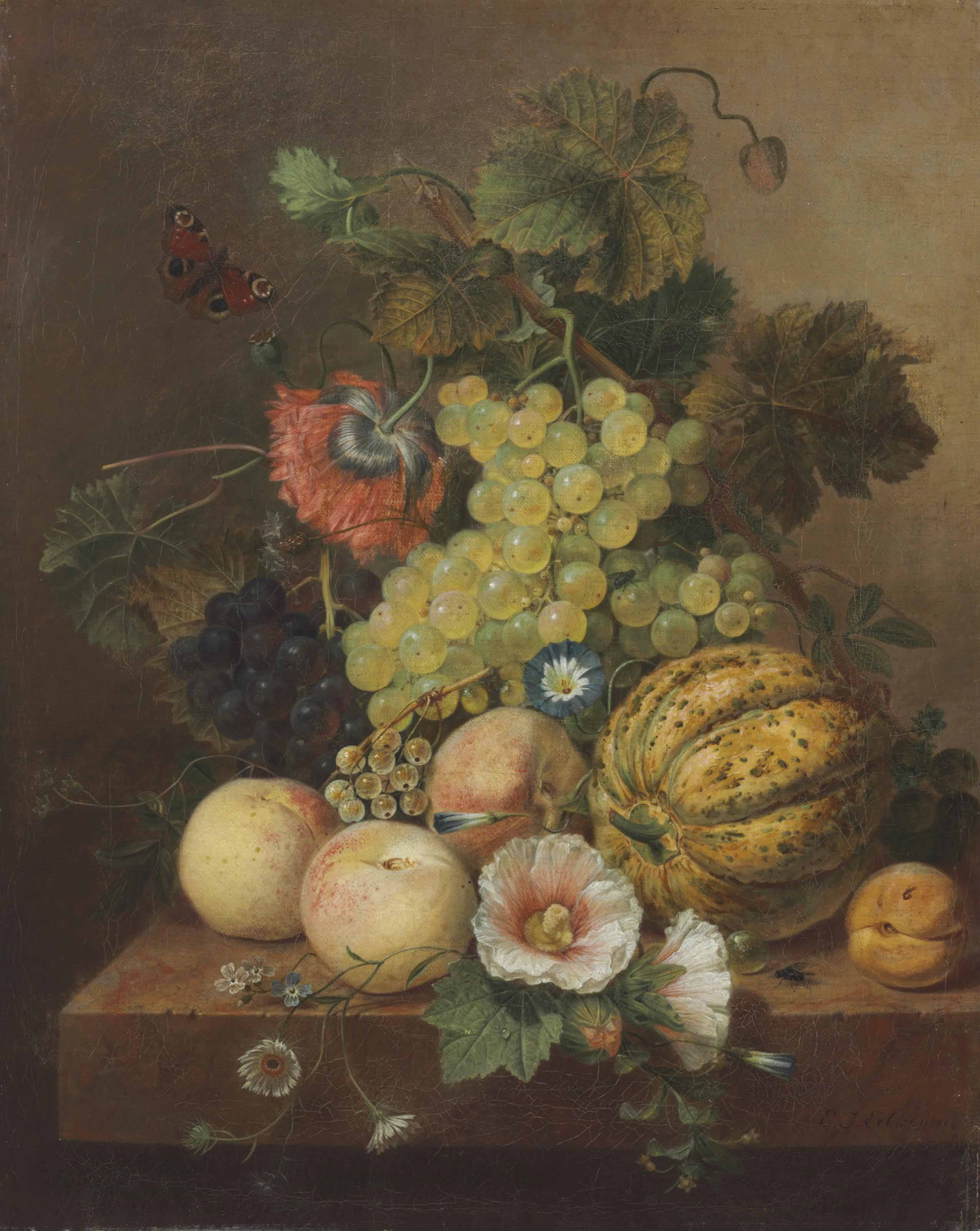 Grapes, Peaches, Melon and an Apricot on a Marble Ledge