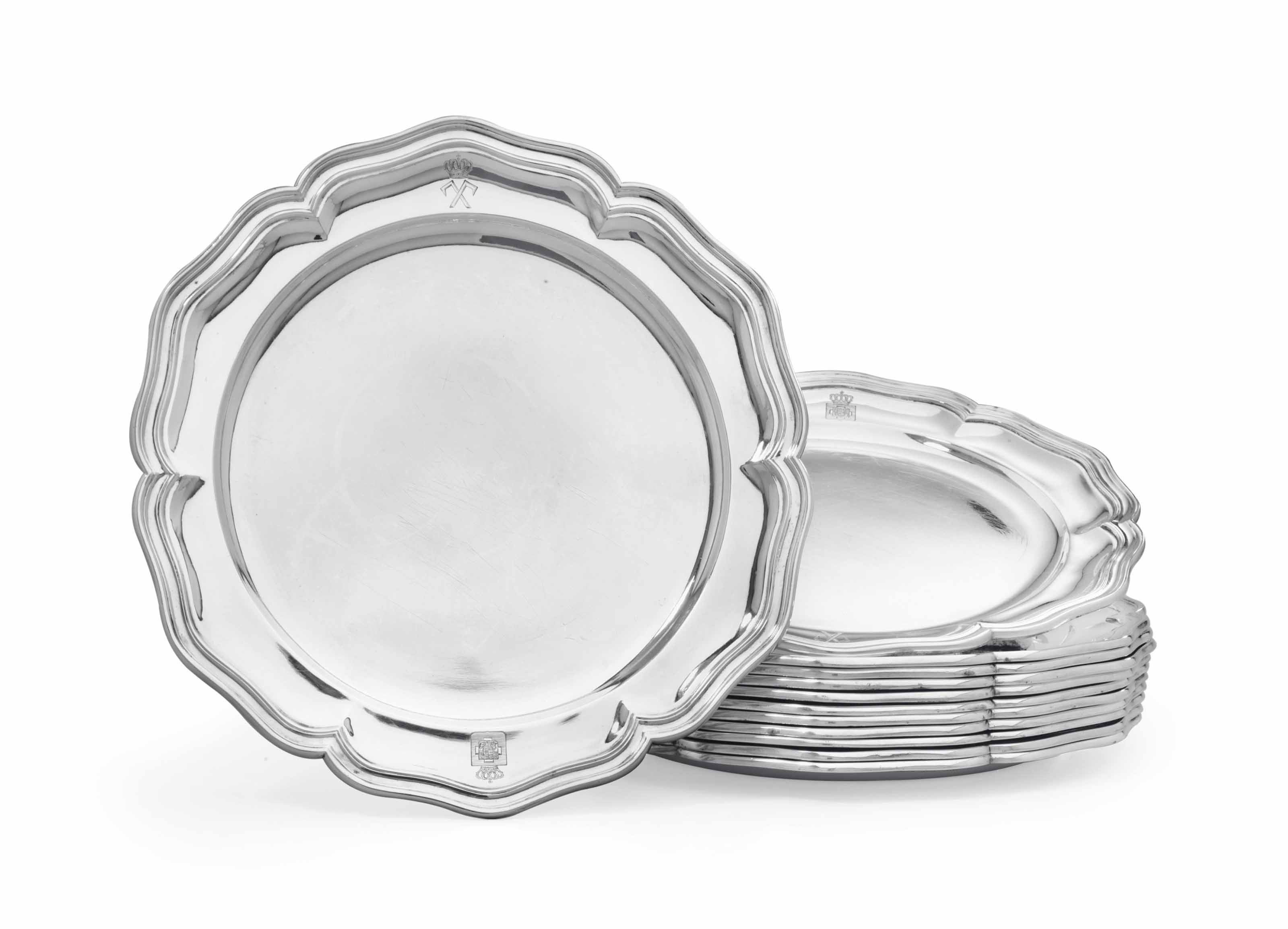 A SET OF TWELVE DANISH SILVER DINNER PLATES FROM THE COLLECTION OF KING GEORGE I OF THE HELLENES