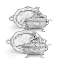 AN IMPORTANT PAIR OF GERMAN SILVER SOUP TUREENS AND STANDS