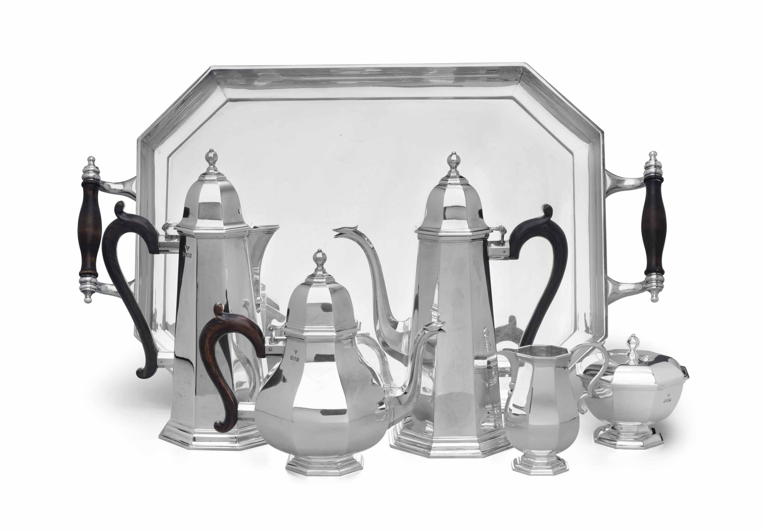 AN ELIZABETH II BRITANNIA STANDARD SILVER FIVE-PIECE TEA AND COFFEE SERVICE WITH TRAY