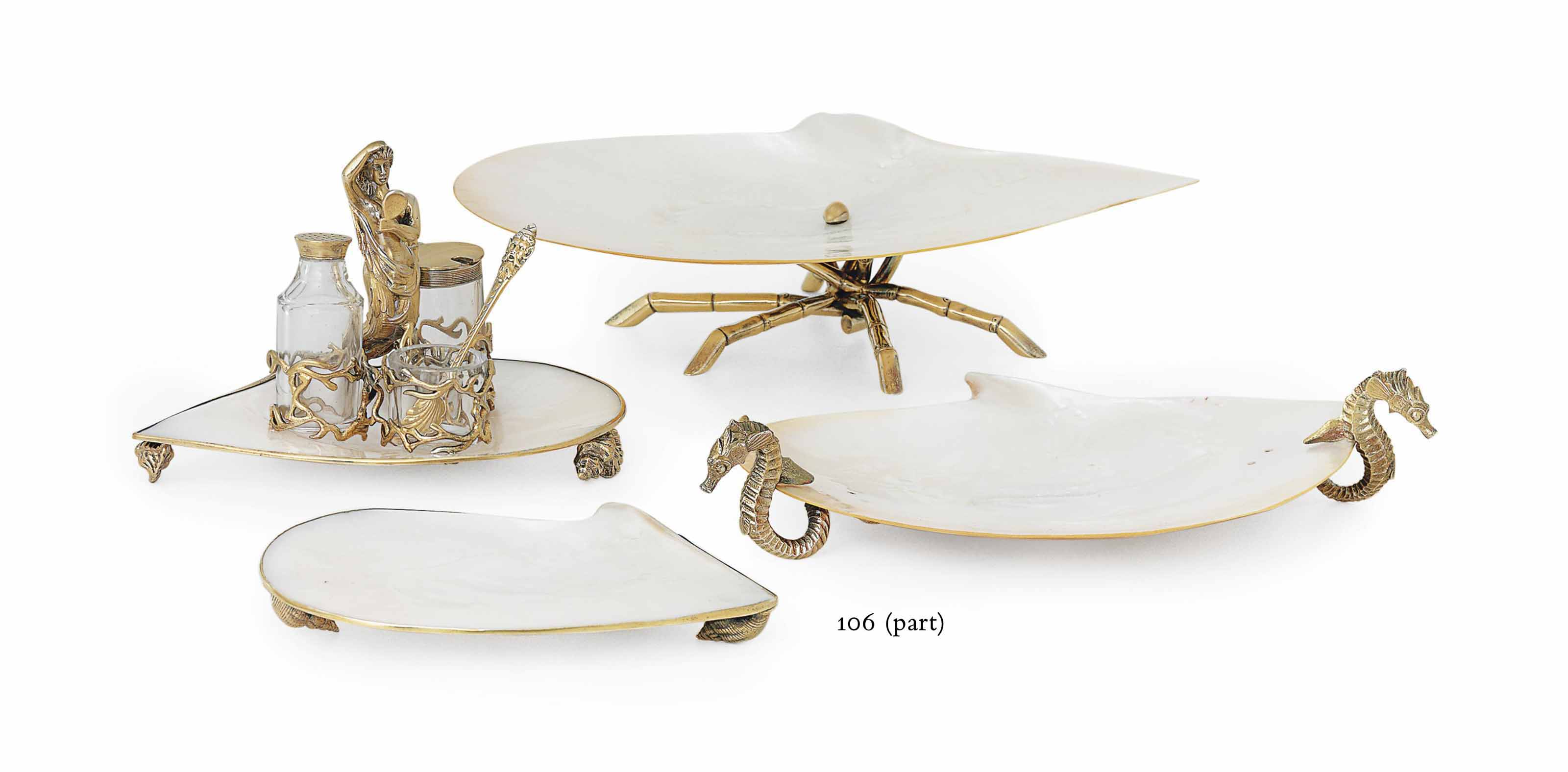 A VICTORIAN AND CHINESE EXPORT SILVER-GILT AND MOTHER-OF-PEARL DESSERT SERVICE