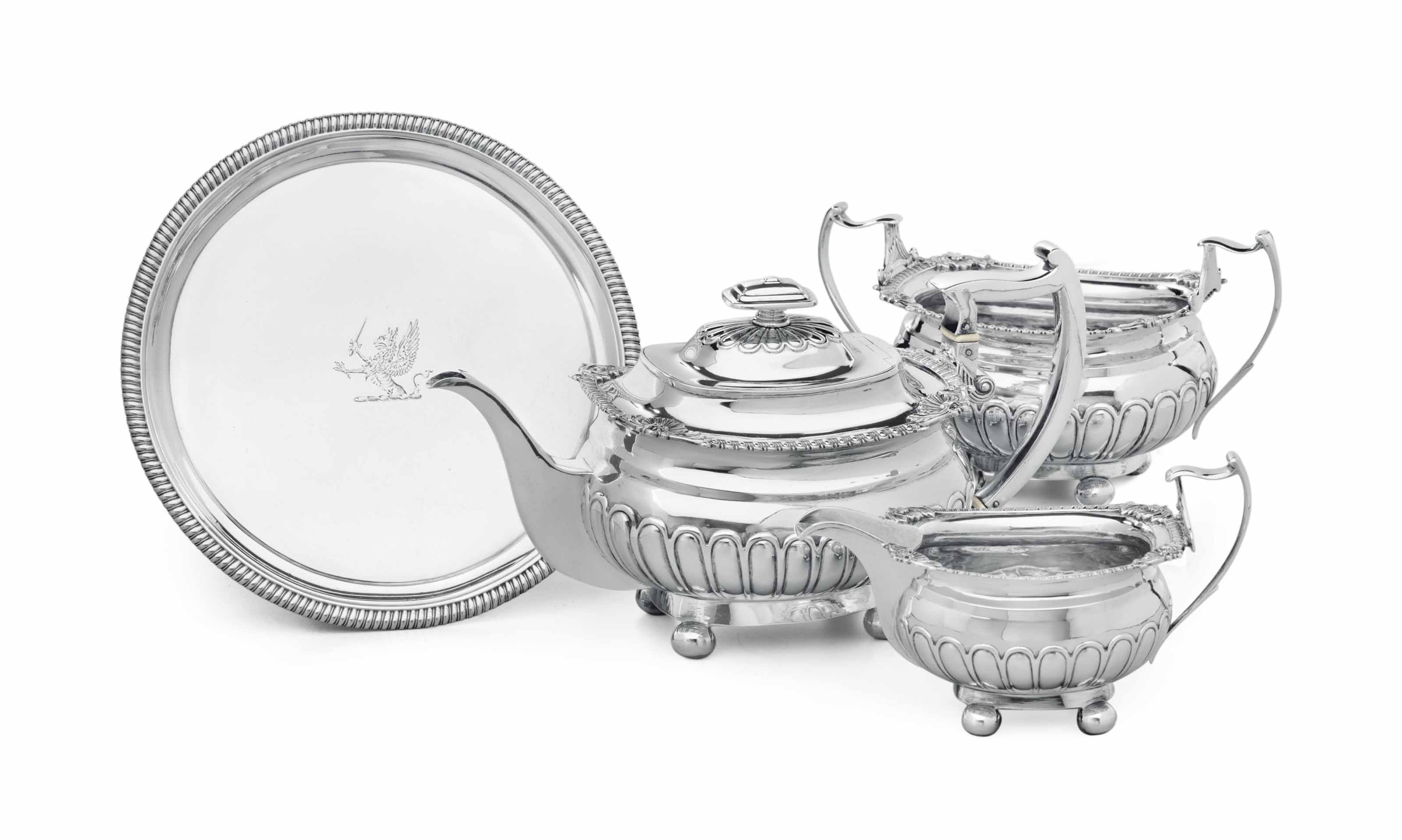 A SCOTTISH REGENCY THREE-PIECE SILVER TEA SERVICE**
